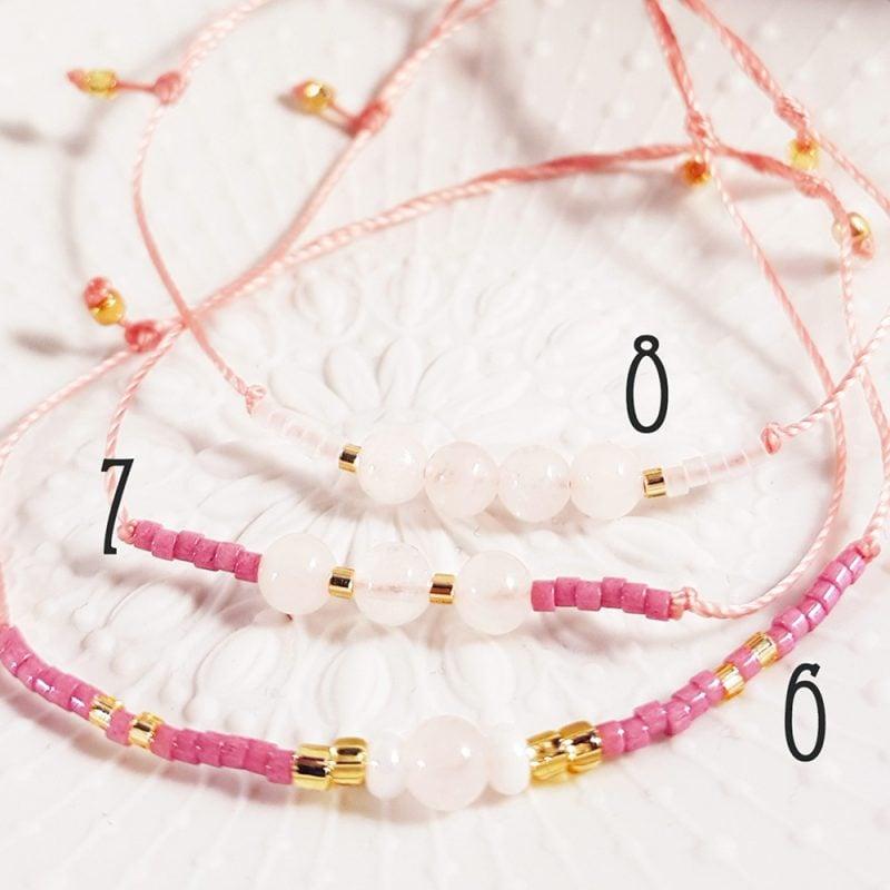 Bracelet Quartz rose - 7 à 8 - La Géante